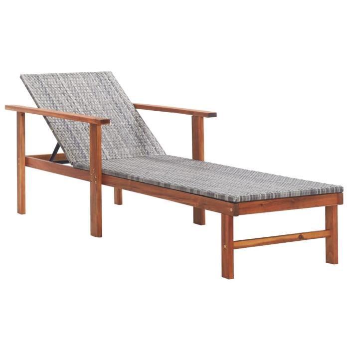 Chaise longue de jardin Résine tressée - Bains de soleil, Fauteuil de Jardin, Transat jardin et bois d'acacia massif - Gris