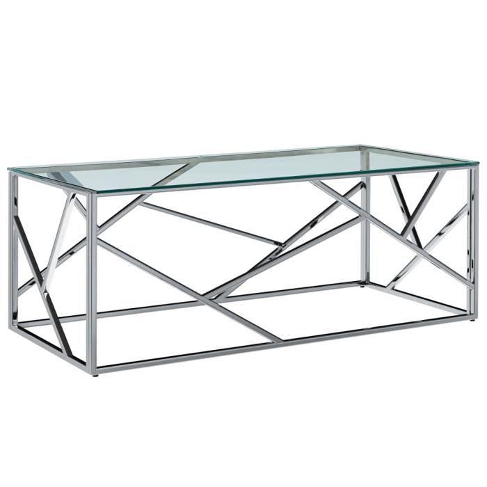 Table basse Transparent 120x60x40 cm Verre trempé et inox -PAI