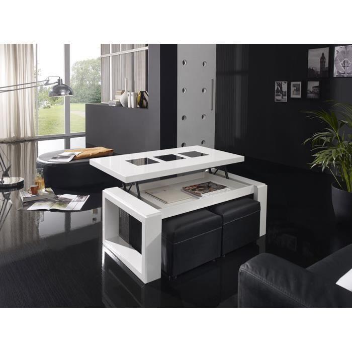 Table basse relevable blanc laqué brillant design MANDALA L 100 x P 50 cm Sans plateau inférieur ni poufs L 100 x P 50 x H 57 cm