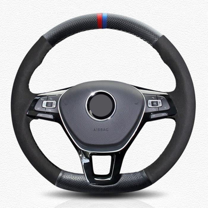 Couverture de volant de voiture - En cuir véritable, noir, pour Volkswagen VW Passat B8 Golf 7 GTI Gol style 1