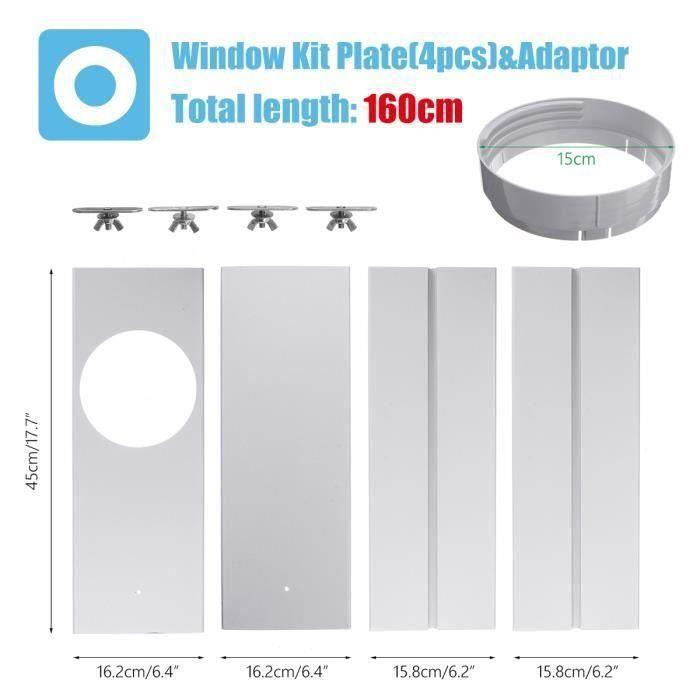4PCS fenêtre glissière Kit Plaque + Adaptateur Pr Portable Climatisation Climatiseur Me48643