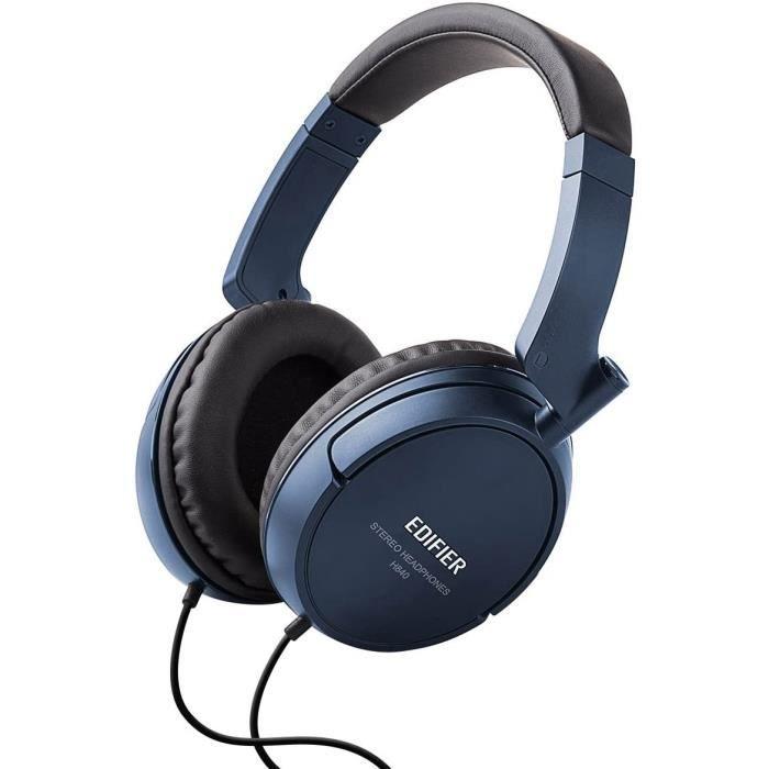 Edifier H840 Casque à Ecouteurs Hi-FI Isolation PhoniqueAudiophile sur-Oreille sans Micro - Bleu