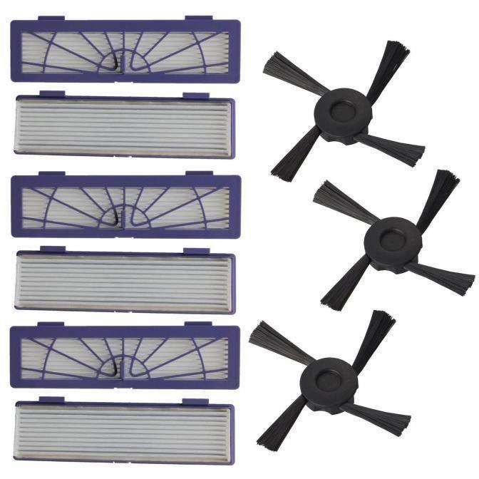 6PC Filter + 3pc brosses latérales de remplacement pour Neato Botvac 70e 75 80 85 @ TPT60603021 @ VI