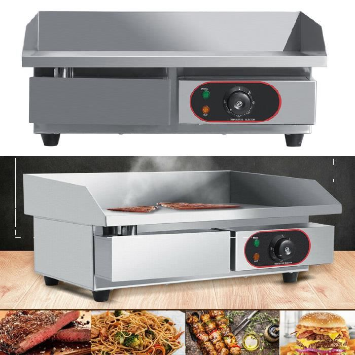Qutianshop® Plancha Barbecue Électrique en Acier Inoxydable Plancha de Table Electrique Professionnelle Chauffe-Plat électrique