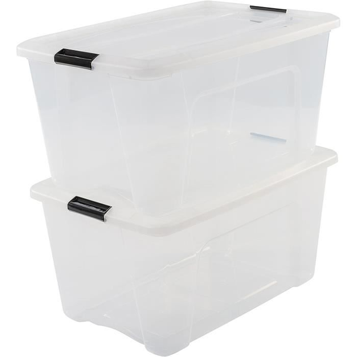 Iris Ohyama, Set de 2 boîtes de rangement empilables - New Top Box NTB-45 - Plastique, transparent, 45 L, 58 x 39,5 x 36,5 cm