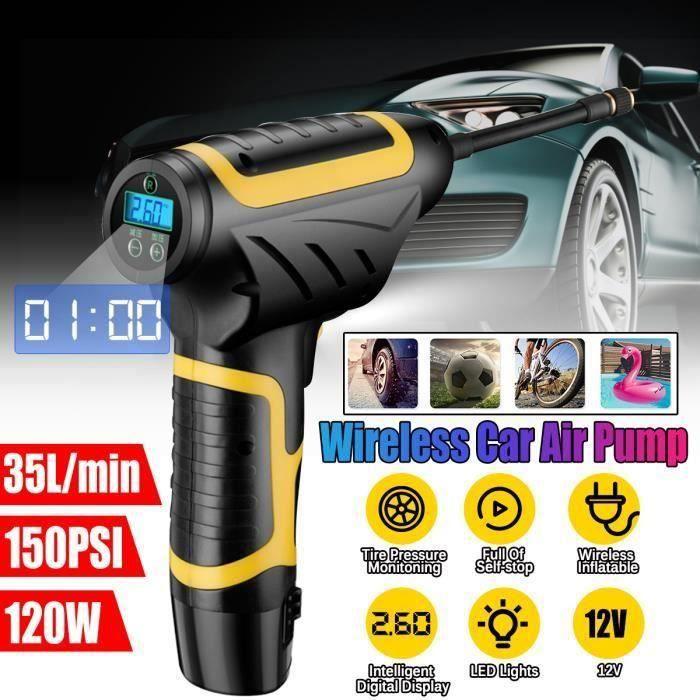 Compresseur d'Air Portable Gonfleur Electrique Digital Ecran LCD Lampe LED