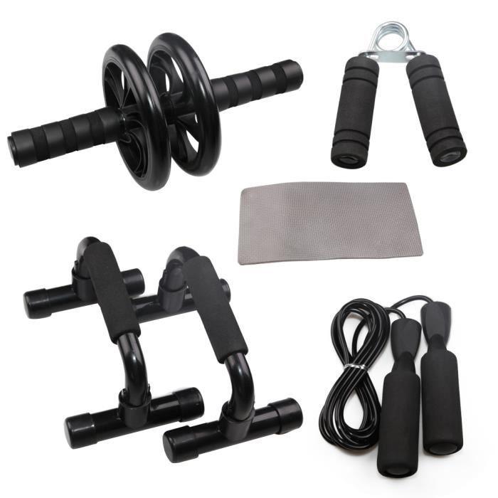 5pcs appareils fitness Sport poignee push-up musculation, réglable Corde à Sauter, AB Roue d'exercice Fitness, push-up musculation,t