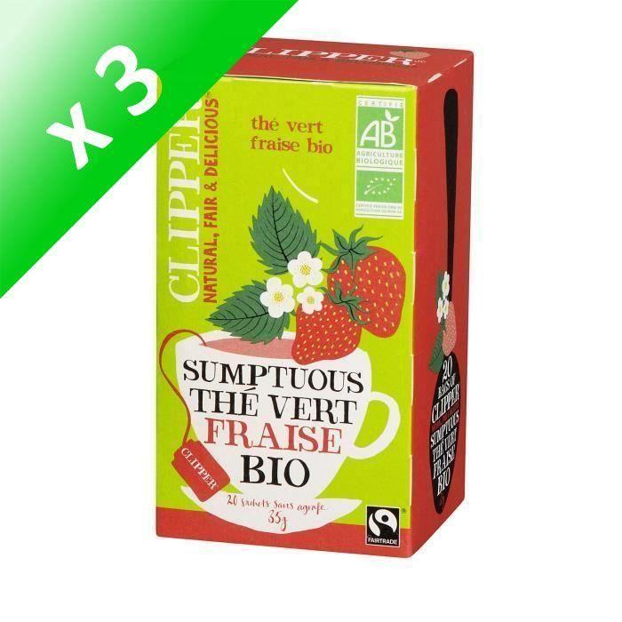 [LOT DE 3] CLIPPER Thé Vert Fraise Bio 35g
