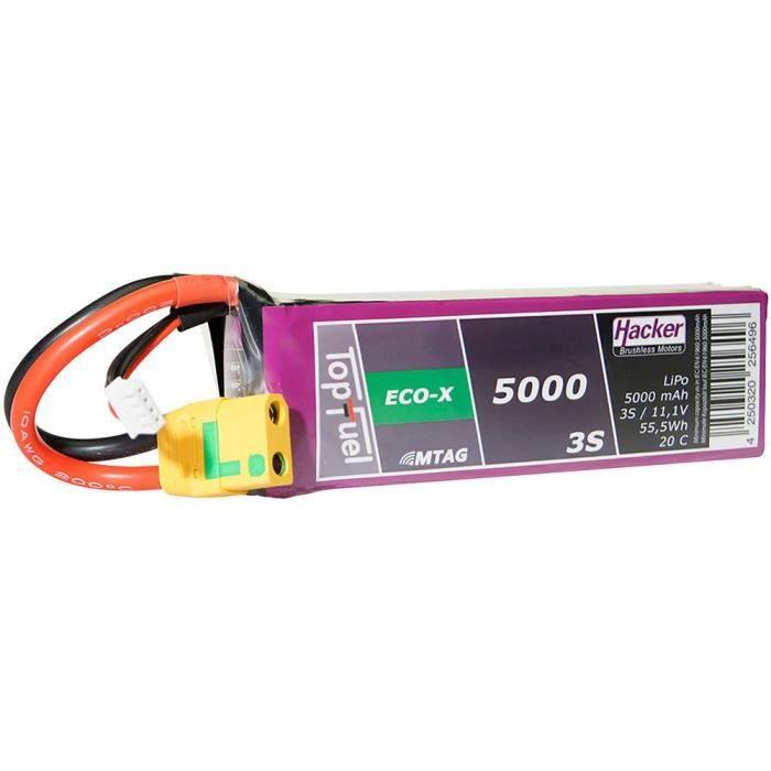 Pack de batterie (LiPo) 11.1 V 5000 mAh Hacker TF ECO-X 5000-3S MTAG 95000331 Nbr de cellules: 3 20 C Softcase XT90 1 pc