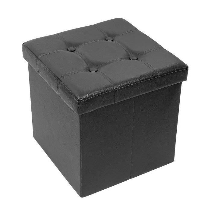IWMH Pouf Coffre de Rangement Pliable - Ottoman Rangement Coffre Cube de Repose-pieds - 38x38x38 cm - Simili Cuir, Noir