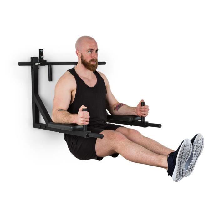 Klarfit Hangman MultiGym Station de musculation , traction & dips - 8 positions - Montage facile - Charge 200kg - acier noir