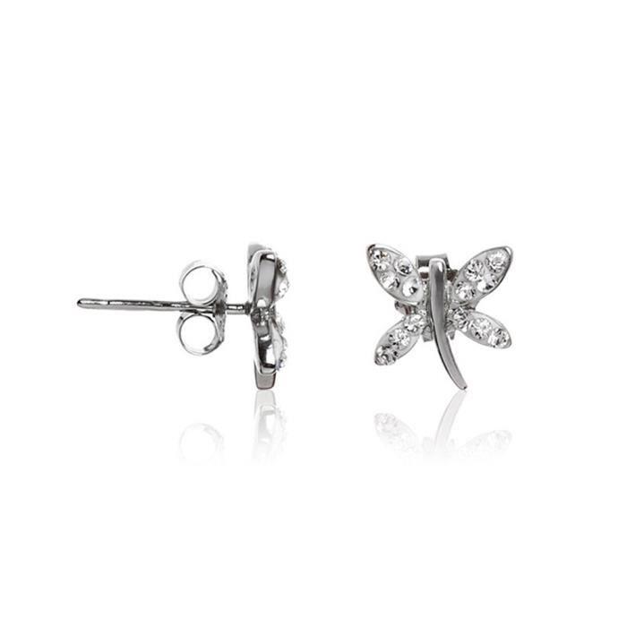 Mes-bijoux.fr - Boucles d'oreilles Femme Argent 925 et ornée de Cristaux de Swarovski Element - WET10Crygv