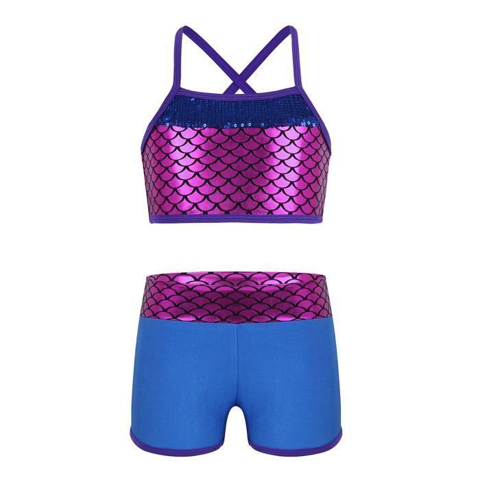 Justaucorps Fille Enfant Gymnastique Imprimé Sirène Ensemble Vêtements de Sport Bleu 4-14 Ans