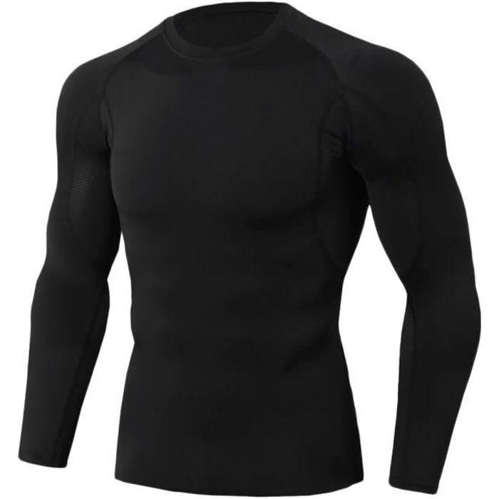 Tee Shirt De Sport Pour Homme Manches Longues Haut De Compression Base Layer Séchage Rapide TC85 3XL