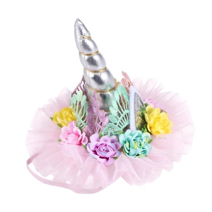 Licorne dentelle couronne coiffe enfants fleur accessoire de cheveux belle CHAPEAU - PERRUQUE - COUVRE CHEF - ACCESSOIRE DE TETE