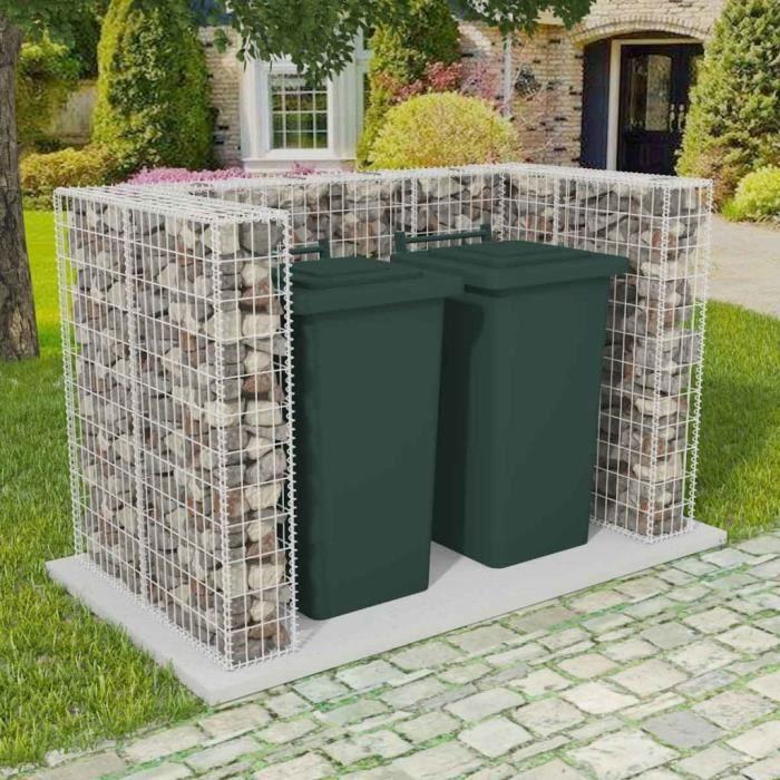 Cache-poubelle Cadre à gabion de poubelle double Acier 180 x 100 x 120 cm