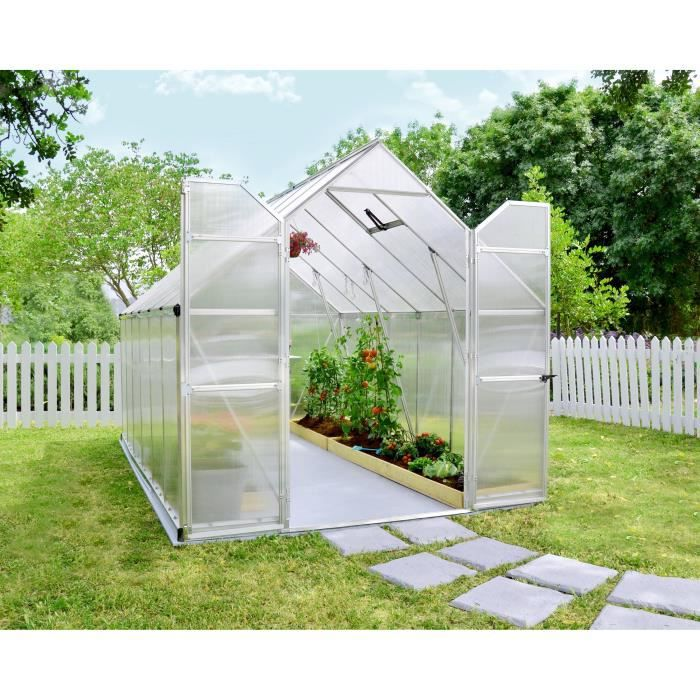 PALRAM Serre de jardin Essence 8,9 m² - Aluminium et polycarbonate - Double parois