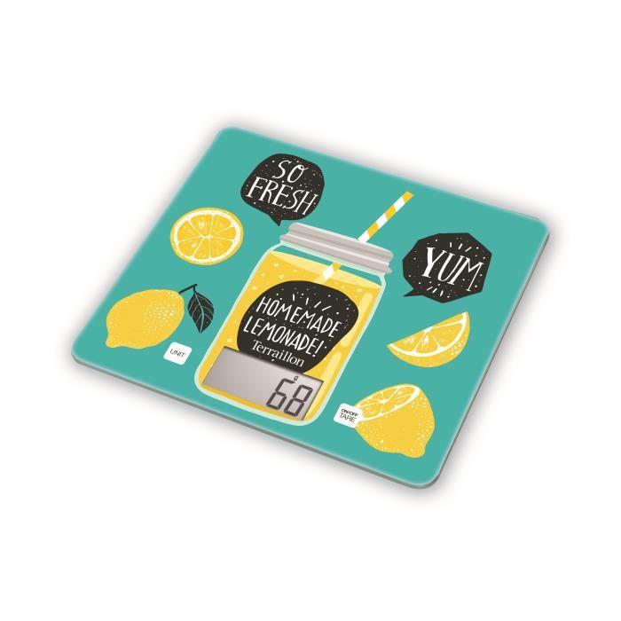 TERRAILLON - Balance de cuisine T1040 DETOX VERTE - Pesée électronique - 3g min 3kg max - Conversion liquide - Tare - Arrêt auto
