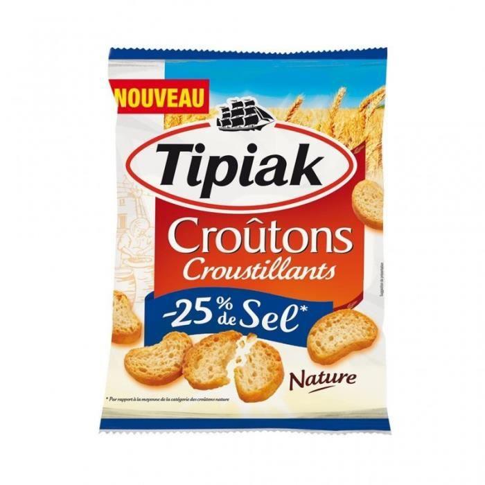 Tipiak Croûtons Croustillants -25% de Sel Nature 80g (lot de 4)