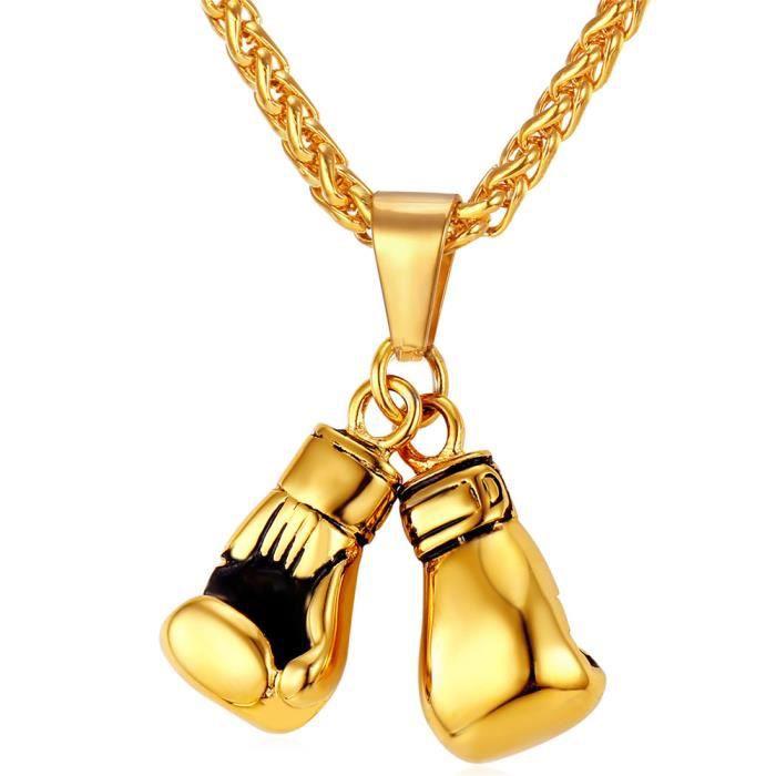 Collier pendentif paire gants de boxe avec chaine 50cm vrai plaqué Or et boite