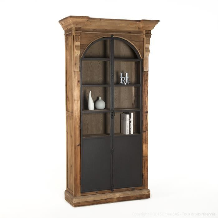 biblioth que en bois avec portes vitrines en m tal hauteur. Black Bedroom Furniture Sets. Home Design Ideas