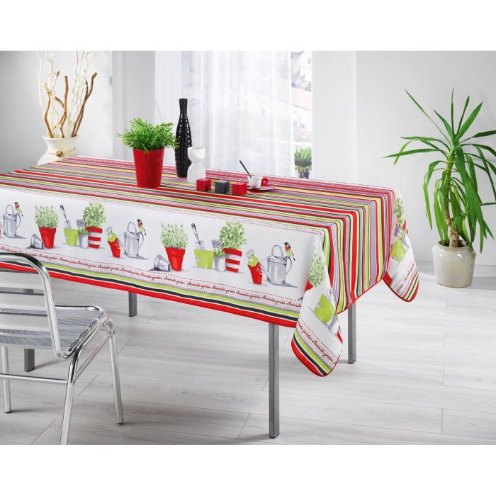 nappe anti tache rectangle 150x240 cm jardin catalan rouge. Black Bedroom Furniture Sets. Home Design Ideas