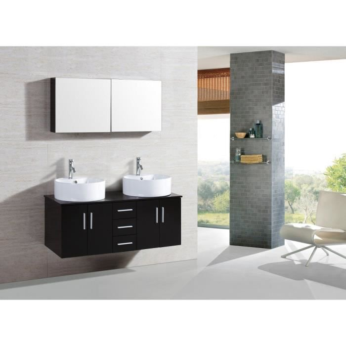 stone wenge ensemble salle de bain meuble 2 vasques 1 miroir achat vente ensemble. Black Bedroom Furniture Sets. Home Design Ideas