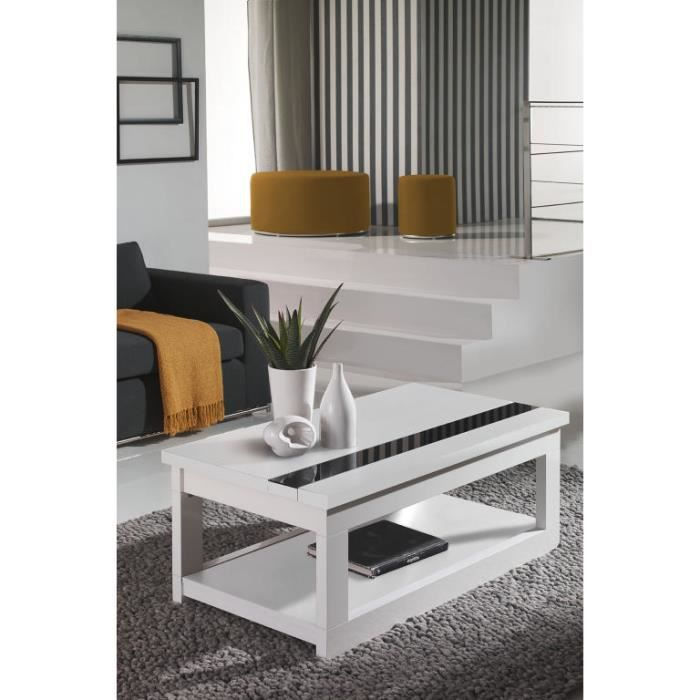 table basse moderne relevable double plateau blanche lana meuble house blanc achat vente. Black Bedroom Furniture Sets. Home Design Ideas