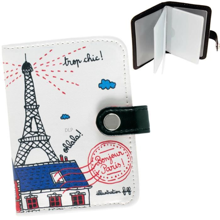 porte cartes de fid lit bonjour paris bleu motif tour eiffel etui rangement id e cadeau. Black Bedroom Furniture Sets. Home Design Ideas