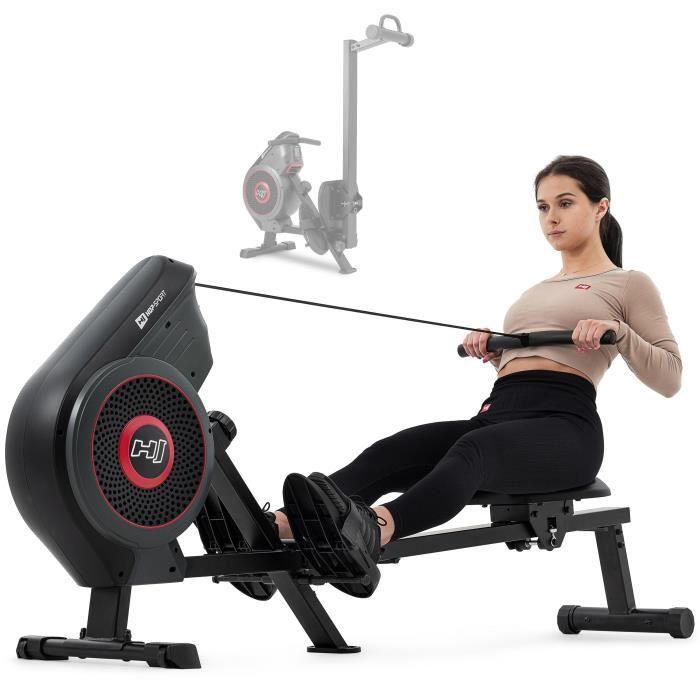 Photo de hs-hop-sport-rameur-a-air-hs-065ar-talon-siege-confortable-ordinateur