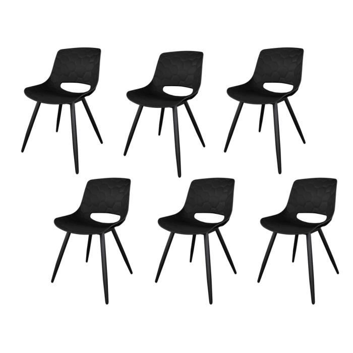 Brooklyn Lot De 6 Chaises De Salle A Manger Noir Contemporaine