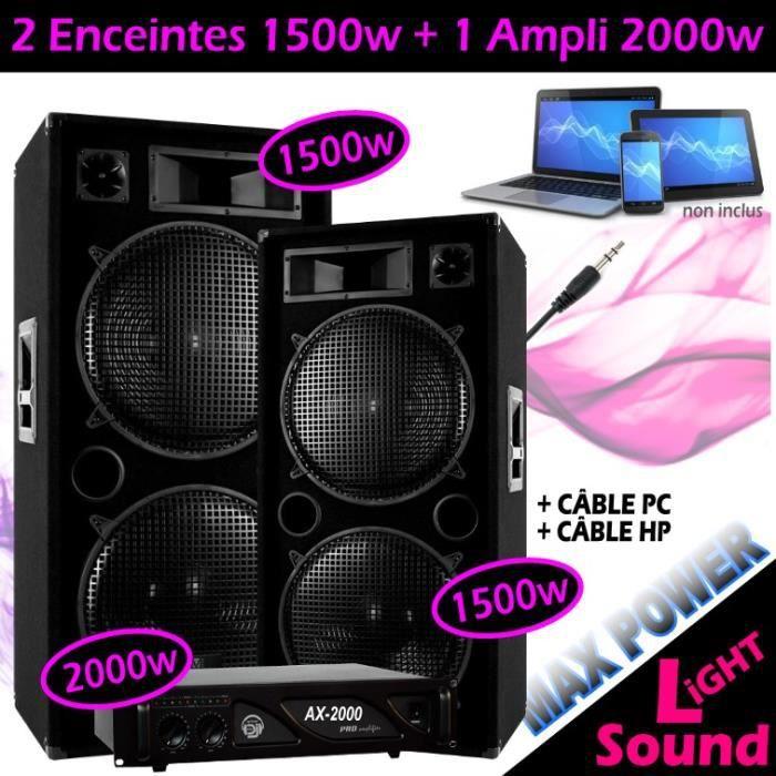 PACK SONO 2 ENCEINTES SONO 2x1500W Max + 1 AMPLI 2000W PA DJ