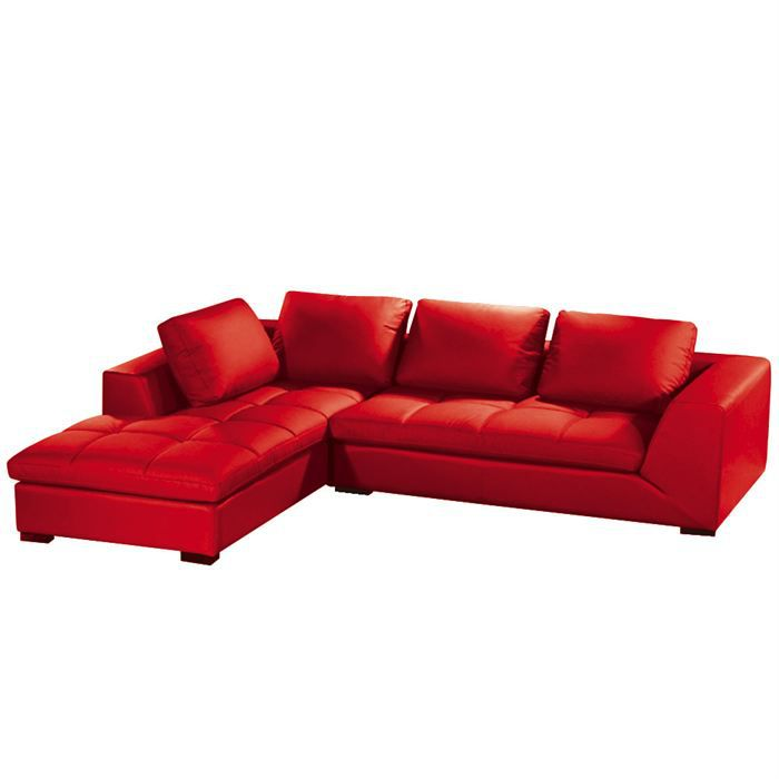 Canapé Dangle Family Rouge Achat Vente Canapé Sofa Divan - Canapé d angle cuir rouge