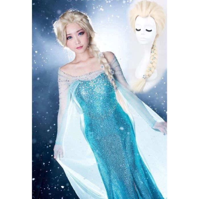 kit perruque robe elsa d guisement la reine des neiges adulte cosplay clips neiges achat. Black Bedroom Furniture Sets. Home Design Ideas