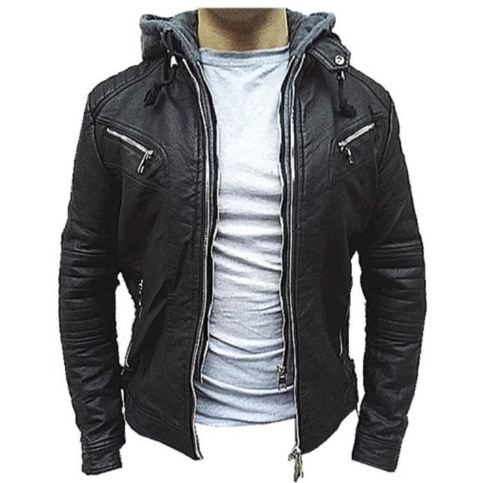 manteau homme veste hiver simili cuir blouson jacket capuche fourrure xh 88067 noir noir noir. Black Bedroom Furniture Sets. Home Design Ideas