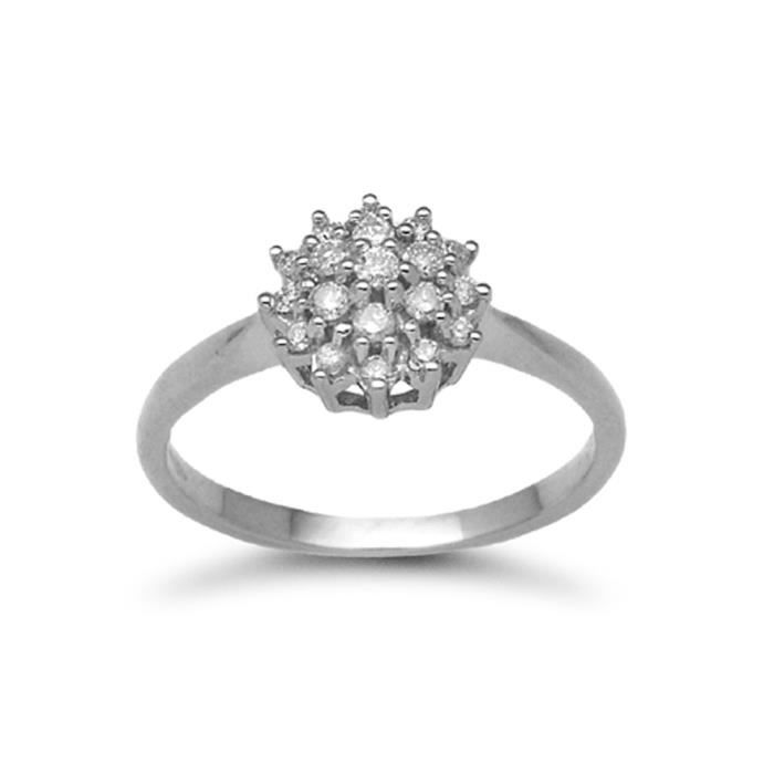 Jewelco London sans-conflit Femmes Solide Or Blanc 9k Grappe Rond Brillant G I2 Diamant Grand Cadran Grappe Bague