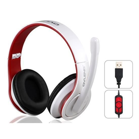 ovleng q8 casque audio st r o usb pour pc blanc casque. Black Bedroom Furniture Sets. Home Design Ideas