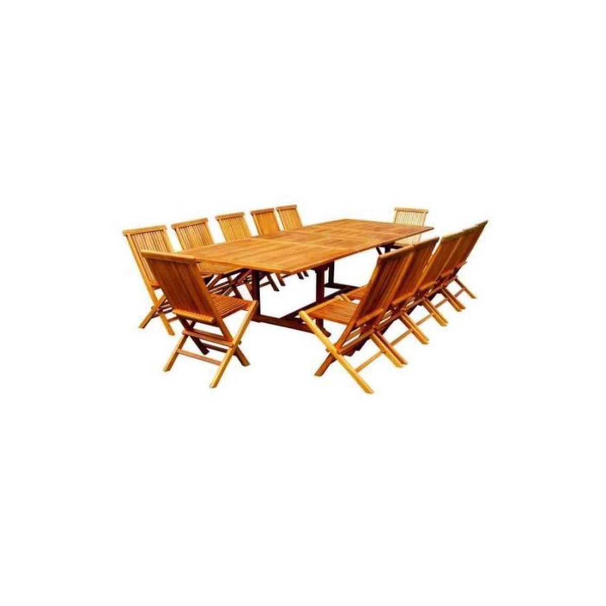 INAISLAND : salon de jardin en teck huilé 12 chaises + table ...