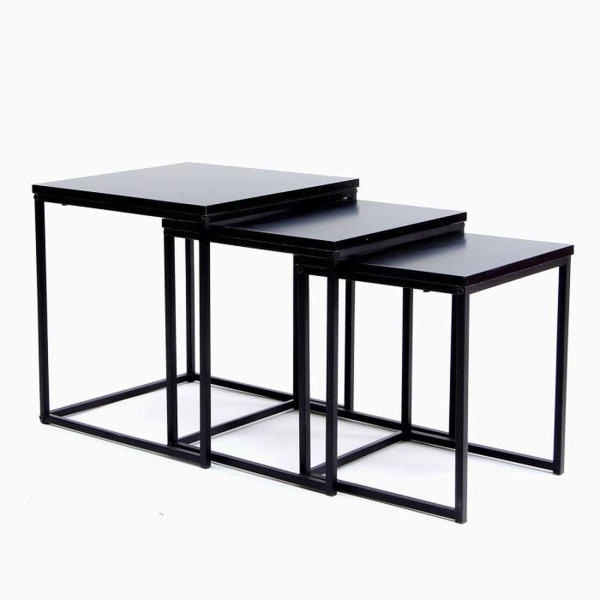 table gigogne forme carr set de 3 couleur noire achat vente table gigogne table gigogne. Black Bedroom Furniture Sets. Home Design Ideas