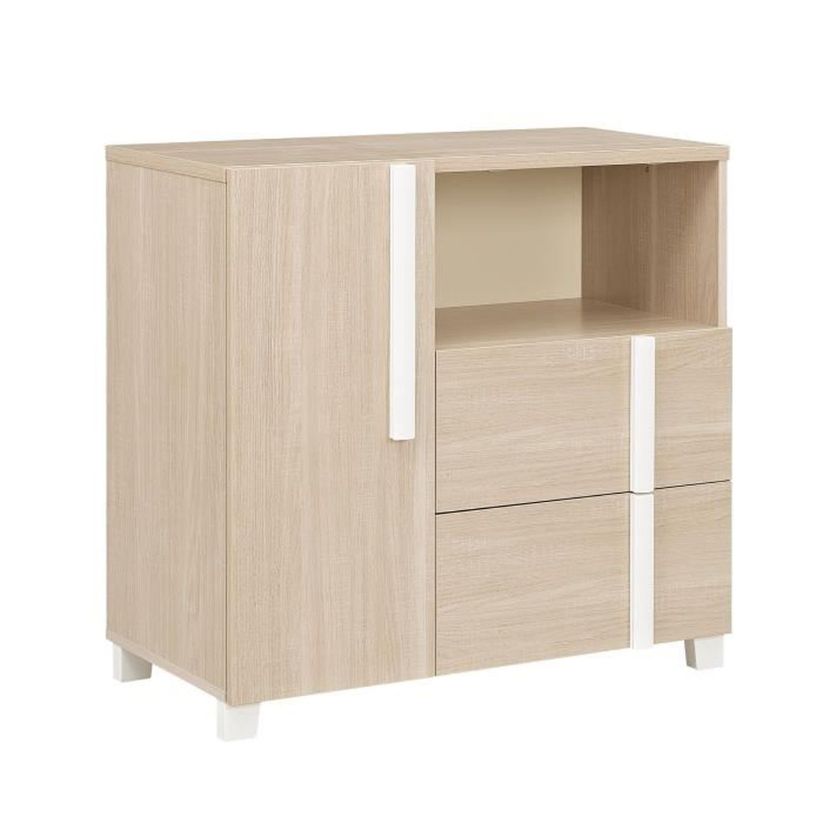 commode en bois avec 1 porte et 2 tiroirs l99 cm h93 cm alpa achat vente commode de chambre. Black Bedroom Furniture Sets. Home Design Ideas