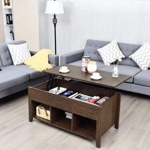 TABLE BASSE COSTWAY Table Basse avec Plateau Relevable Marron