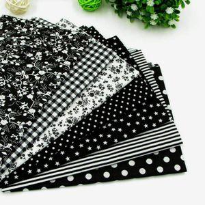 TISSU 7pcs 50cm * 50cm Noir Tissu en coton pour couture