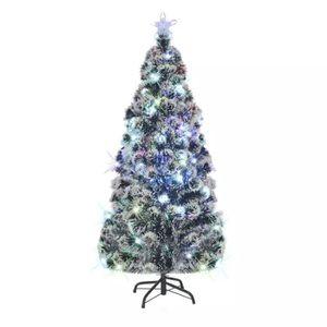 Sapin de No/ël Artificiel Lumineux LED x 200 Blanc Chaud Support Pied /Ø 70 x 150H cm 200 Branches /étoile Sommet Brillante Vert