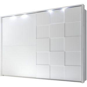 ARMOIRE DE CHAMBRE Armoire 2 portes coulissantes 275 cm Blanc mat à L