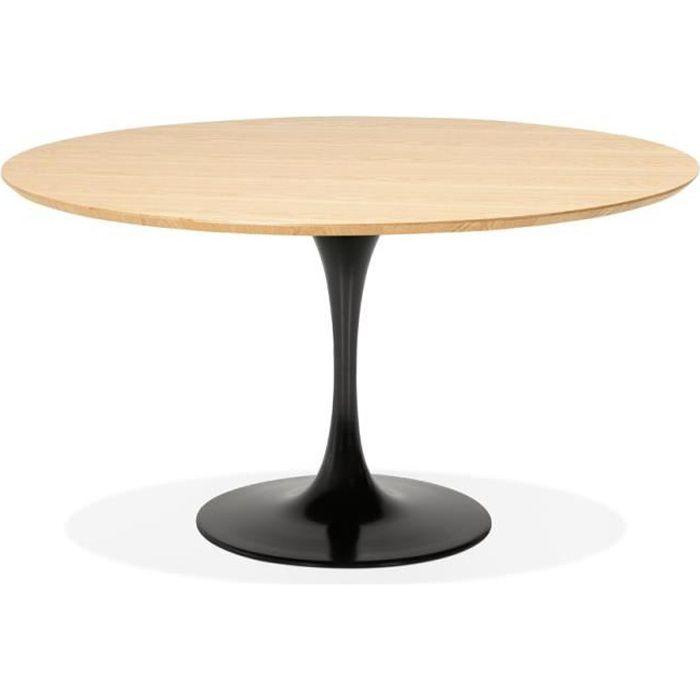 Table à dîner / de bureau ronde design 'GLOBO' en bois finition naturelle et pied central en métal noir - Ø120 cm