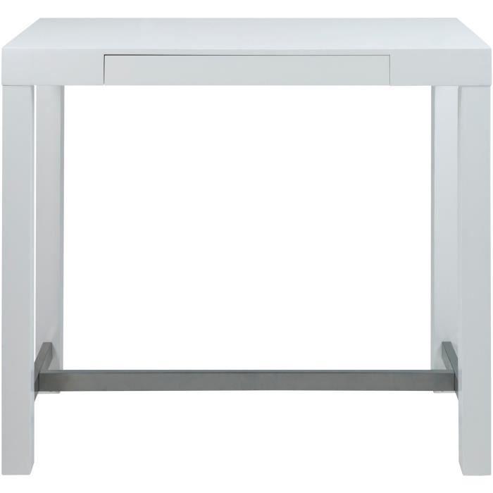 ANGELA Table de bar 4 à 6 personnes scandinave en contreplaqué laqué blanc - Repose-pied en métal - L 120 x l 60 cm