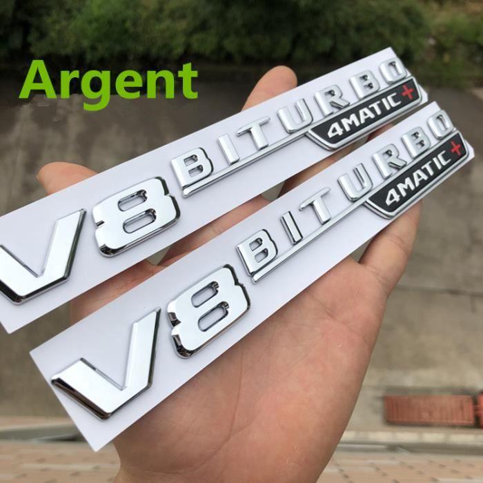 Insigne Marque Auto Mercedes-Benz V8 BITURBO 4MATIC+ Marque Argent