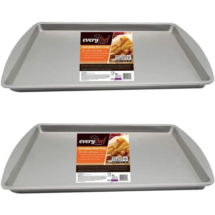 Lot de 2 plaques de cuisson rectangulaires - 38 x 25 x 1,5 cm - Résistantes et non toxiques - Antiadhésives par chaque chef