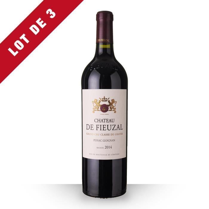 3X Château de Fieuzal 2014 Rouge 75cl AOC Pessac-Léognan - Vin Rouge