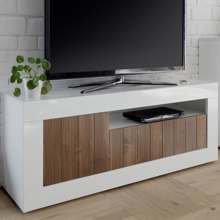 Meuble tv 140 cm marron et blanc laqué moderne, 3 portes URBAN 4 Blanc